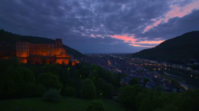 view to the heidelberg castle, city of heidelberg and river neckar. - neckar river stock videos & royalty-free footage