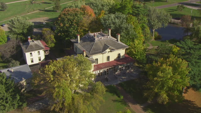 MS AERIAL View top flying over Villa Louis on St Feriole Island / Prairie du Chien, Wisconsin, United States