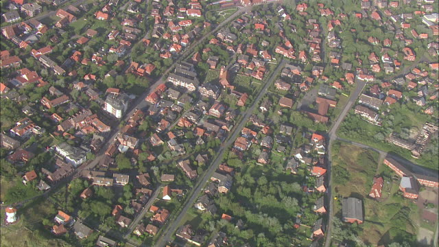AERIAL WS ZI view Top of  house / Greetsiel+Norderney+Langeoog, Lower Saxony, Germany