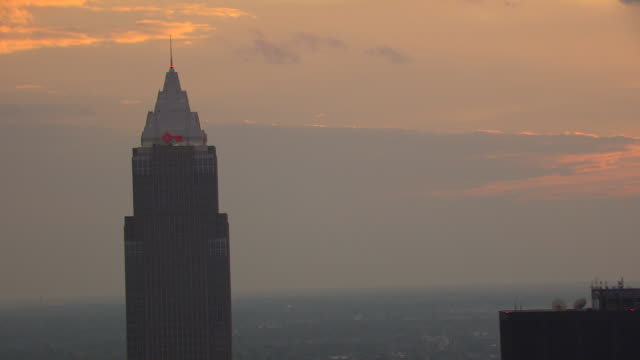 ms zo aerial view top of key tower and downtown buildings with sunset / cleveland, ohio, united states - erie county ohio stock videos & royalty-free footage