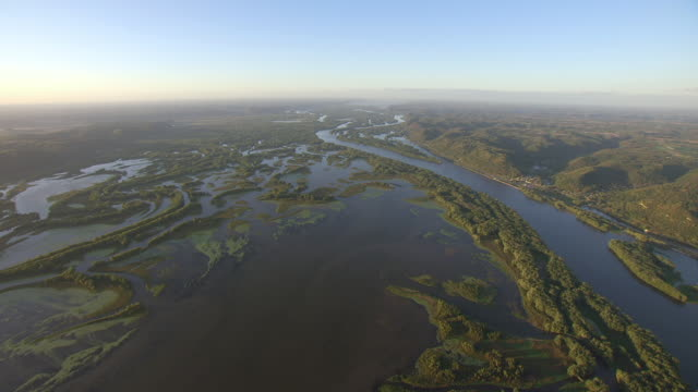 WS AERIAL TU View top over Upper Mississippi Fish and Wildlife Refuge / Iowa, United States