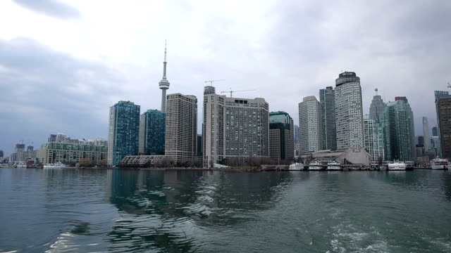 HD VDO : View Toronto Skyline from Boat, Canada