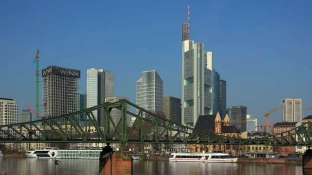 View towards Main River to Eiserner Steg Bridge and Financial District, Frankfurt am Main, Hesse, Germany