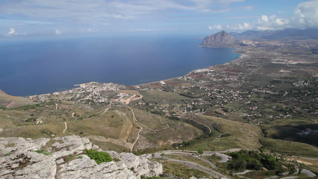 view towards monte cofano and the bay, sicily - sicily stock videos and b-roll footage