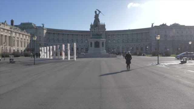 view towards neue burg palace and museum in winter, vienna, austria, europe - the hofburg complex stock videos & royalty-free footage