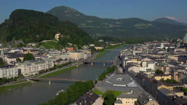 View towards Salzburg Cathedral, Collegiate Church and Fortress Hohensalzburg, Salzburg, Austria