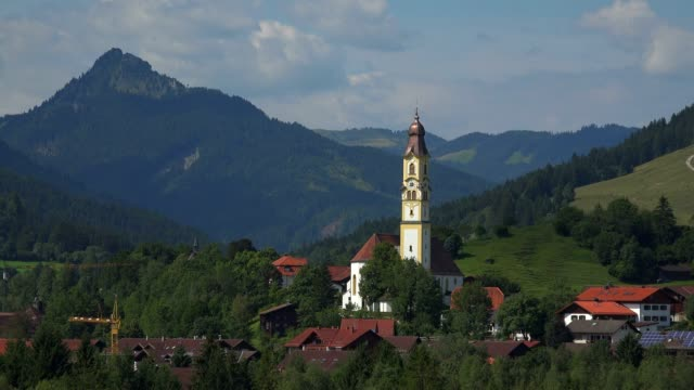 view towards the town of pfronten, allgaeu, swabia, bavaria, germany - pfronten stock videos and b-roll footage