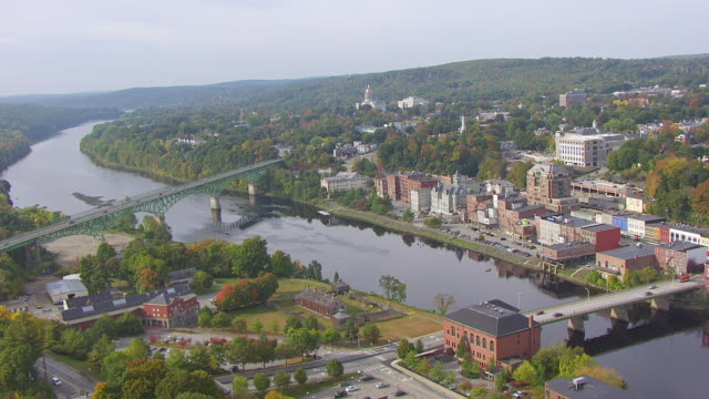ws aerial pov view townscape with fort western / augusta, maine, united states - augusta maine stock videos & royalty-free footage