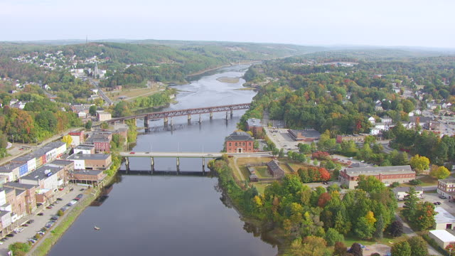 ws zo aerial pov view townscape with kennebec river / augusta, maine, united states - augusta maine stock videos & royalty-free footage