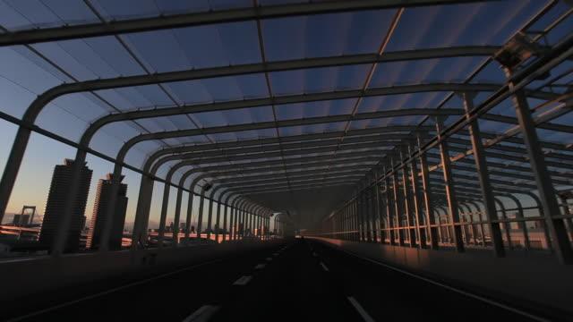 WS POV View traffic moving on metropolitan expressway / Tokyo, Japan