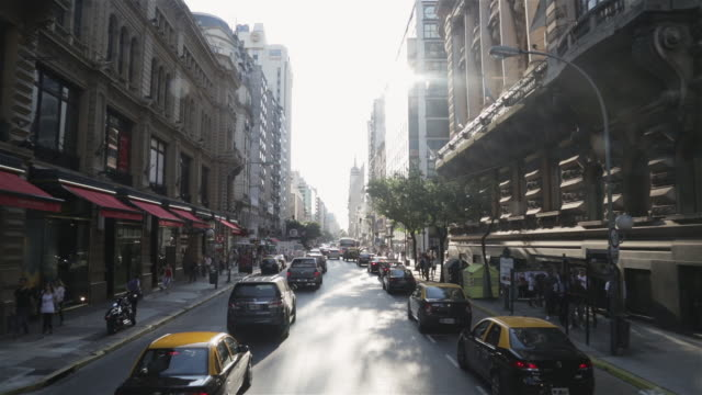 ms, ha, pov view travelling through streets of central buenos aires / buenos aires, argentina - buenos aires stock videos & royalty-free footage