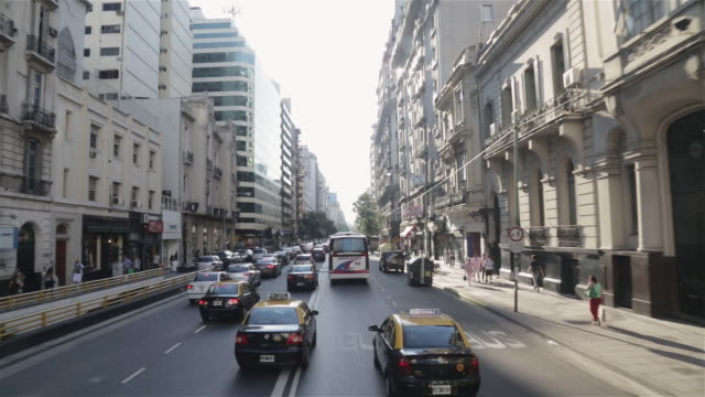 ms, ha, pov view travelling through streets of central buenos aires / buenos aires, argentina - buenos aires stock-videos und b-roll-filmmaterial
