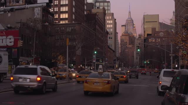 View Up Bowery Street in Manhattan