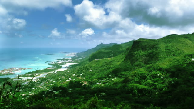 view with mountain - seychelles stock videos & royalty-free footage