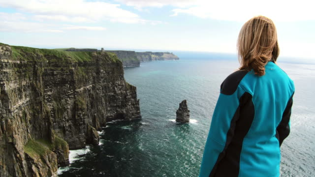 hd: viewing cliffs of moher - rock formation stock videos & royalty-free footage