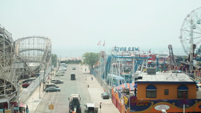 viewing coney island from a subway train - coney island brooklyn stock videos & royalty-free footage