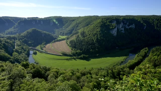 viewpoint at danube river, oberes donautal, irndorf, beuron, swabian alb, swabian jura, baden-württemberg, germany - river danube stock videos & royalty-free footage