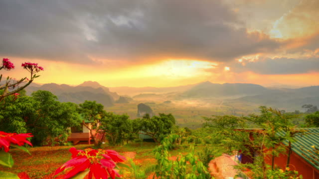 "viewpoint beautiful sunrise at national park ""phu-lang-ka"" phayao province ,thailand - high dynamic range imaging stock videos and b-roll footage"