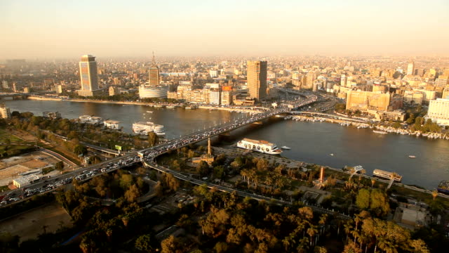 ha ws viewpoint over nile river & city at sunset with bridge/ cairo/ egypt - cairo stock videos & royalty-free footage