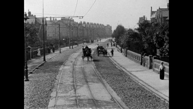 vídeos de stock e filmes b-roll de views along blackpool lytham tram route 1903 - 1903