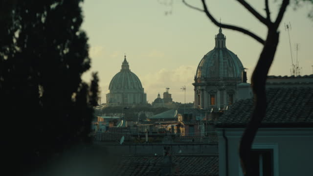 views and sightseeings of the great beauty of rome: church domes and skyline - roman stock videos & royalty-free footage