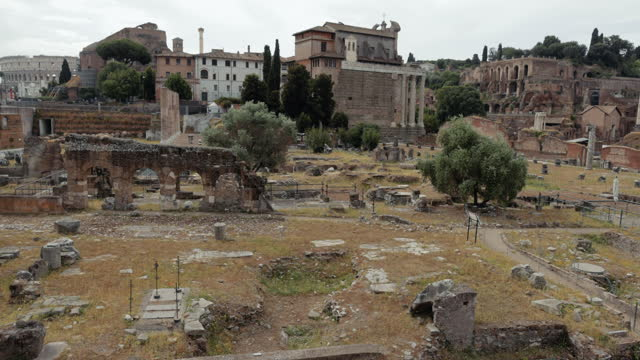 views and sightseeings of the great beauty of rome: the roman forum - column stock videos & royalty-free footage