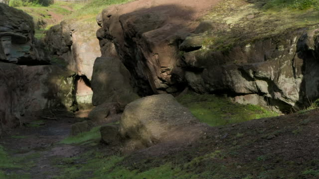 views around an old mine in cheshire, england - sandstone stock videos & royalty-free footage