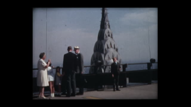 1966 nyc views from pan am heliport - empire state building stock-videos und b-roll-filmmaterial