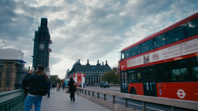 views from westminster bridge, london - double decker bus stock videos & royalty-free footage