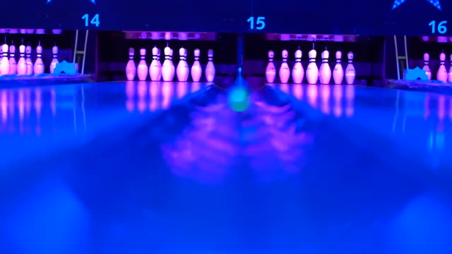 views inside a bowling alley - leisure games stock videos & royalty-free footage