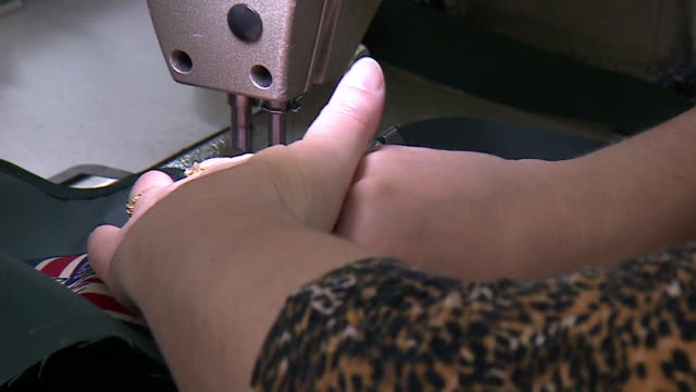 views inside a sewing factory - textile stock videos & royalty-free footage
