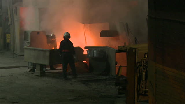 views inside a steel mill - fire natural phenomenon stock videos & royalty-free footage