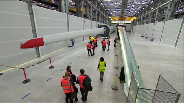 views inside a wind turbine production plant in hull - production line worker stock videos & royalty-free footage