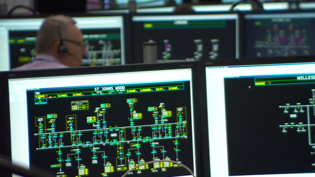 views inside the national grid control centre - device screen stock videos & royalty-free footage