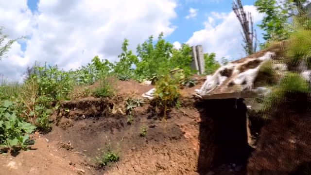 Views inside trenches in the Ukranian city of Adviivka which is on the frontline of the war in Donbass