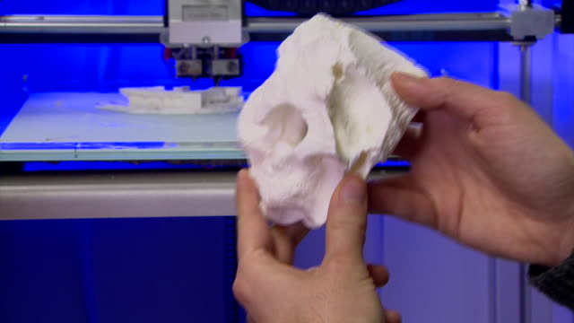 Views of a 3D printer creating a copy of a fossil sample from a newly discovered dinosaur Timurlengia