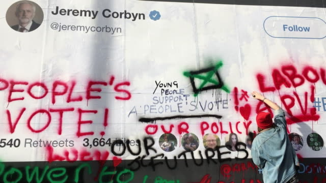 Views of a billboard in north London with a blank Jeremy Corbyn tweet to encourage people to graffiti calling for a People's Vote