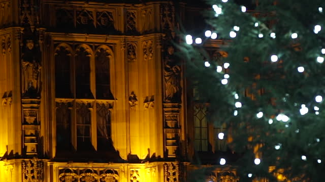 views of a christmas tree outside the houses of parliament - gate stock videos & royalty-free footage