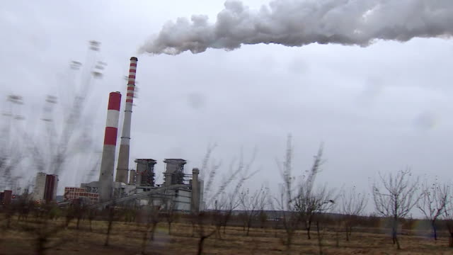 views of a coal-powered power station in pozarevac, serbia - serbia stock videos & royalty-free footage