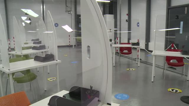 views of a coronavirus testing centre at luton airport - luton airport stock videos & royalty-free footage