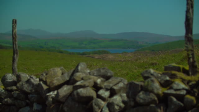 views of a dry stone wall and the welsh landscape - typisch walisisch stock-videos und b-roll-filmmaterial