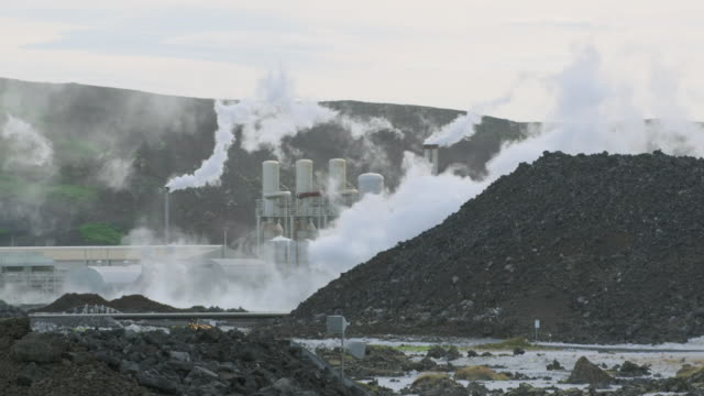 views of a geothermal power station, iceland - electricity stock videos & royalty-free footage