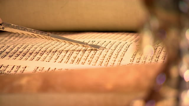 views of a jewish torah scroll - religious equipment stock videos & royalty-free footage