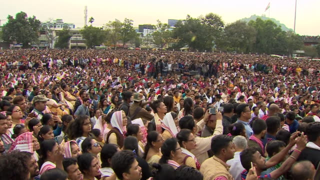 views of a large protest in assam, india against new migrant citizenship laws - citizenship stock videos & royalty-free footage