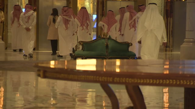 views of a luxury hotel in riyadh where prominent saudi arabian figures are being held as part of an anticorruption drive by the new crown prince... - saudi arabien stock-videos und b-roll-filmmaterial