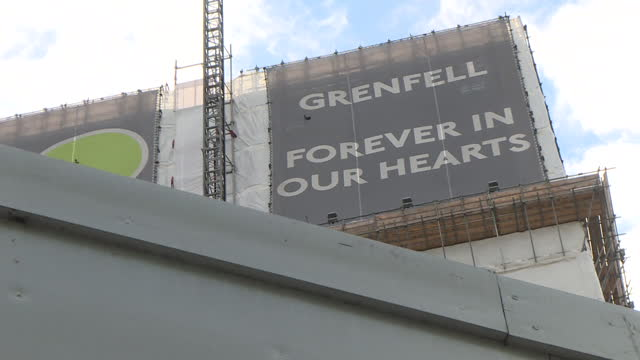 views of a memorial at the grenfell tower site - fire natural phenomenon stock videos & royalty-free footage