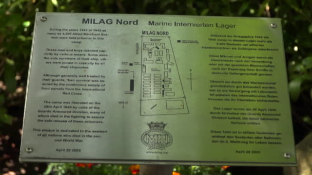 """views of a memorial on the site of the former milag nord world war ii prisoner-of-war camp in westertimke, germany - """"bbc news"""" stock-videos und b-roll-filmmaterial"""
