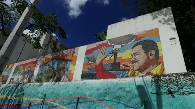 Views of a mural of President Nicolas Maduro in Caracas Venezuela