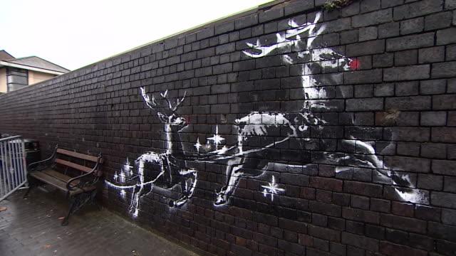 views of a new banksy artwork in birmingham - satire stock videos & royalty-free footage