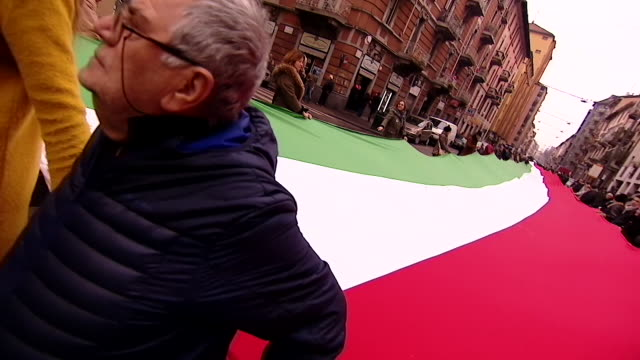 Views of a political march in Milan Italy